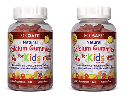Coral Calcium Vitamin D3 Kids Gummy, Natural Cherry Flavor, Non GMO, Gluten-Free, Dairy-Free, Soy-Free and Gelatin Free - 300 mg of Calcium, and 500 IU of Vitamin D3-60 Gummies (2 Pack)