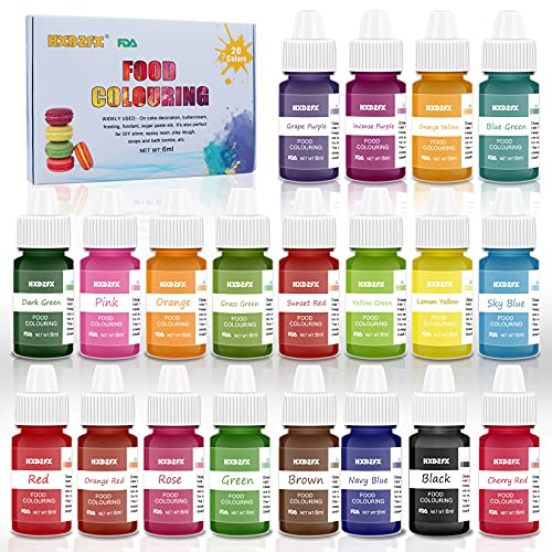 Coloranti Alimentari a 20 colori - Colorante Alimentare Liquido Concentrati per Cuocere, Decorare, Glassare e Cucinare - Coloranti Alimentari Vibranti per Fondente, Slime e Mestieri - Flaconi di 6 ml