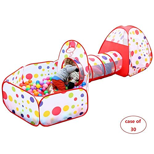 Best Bargain Mumoo Bear Case of 30, Polka Dot 3-in-1 Folding Kids Play Tent with Tunnel, Ball Pit and Zippered Storage Bag