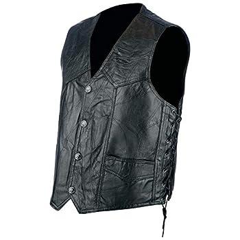 Rock Design Genuine Hog Leather Biker Vest
