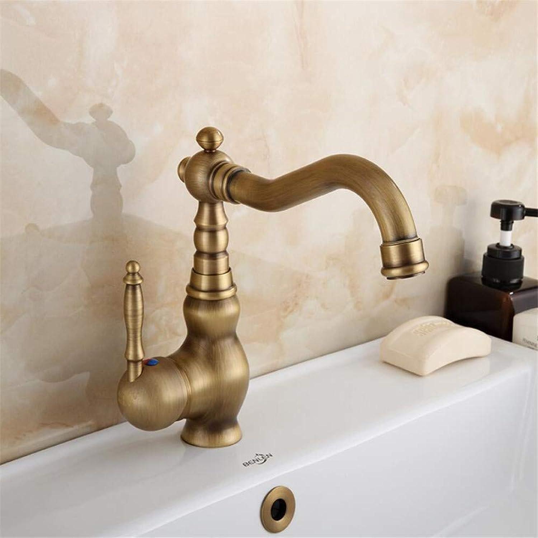 Basin Mixer Tap European and American-Style Nordic Dumb Black Faucet Hot and Cold Wash Basin Splash-Proof Retro Copper Bathroom Home Bathroom Cabinet