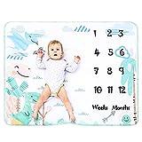 Manta Polar Bebe Con Hito Mensual Fotografia Suave, Mantitas Bebe Recien Nacido,...