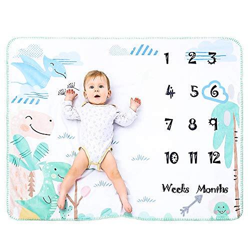 Manta Polar Bebe Con Hito Mensual Fotografia Suave, Mantitas Bebe Recien Nacido, Manta Arrullo Bebe para Niña & Niño Blanco...