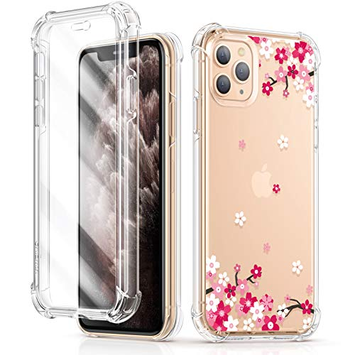 GVIEWIN Floden Series Case Compatible with iPhone 11 Pro Max 6.5 Inch 2019,[Built-in Tempered Glass Screen Protector] Full-Body Clear Floral Rugged Bumper Shockproof Case Cover (Peach Blossom/Pink)