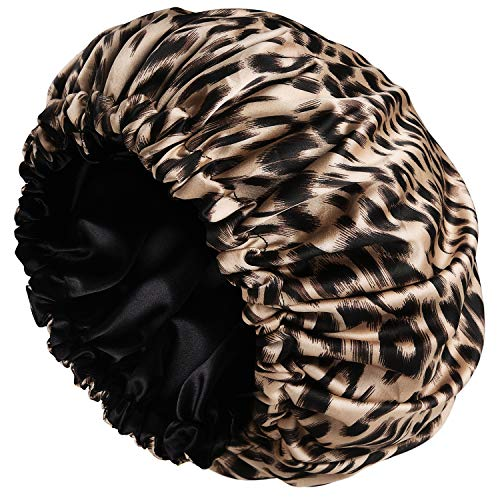 Satin Bonnet Sleep Bonnet Cap - Extra Large, Double Layer, Reversible, Adjustable Satin Cap for Sleeping Hair Bonnet(Large,Leopard)