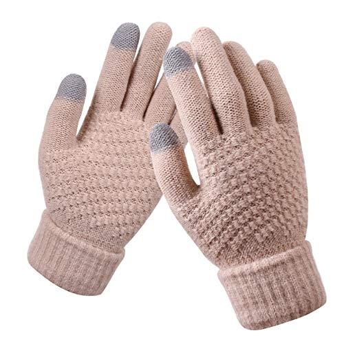 WANGY Guantes de Invierno con Pantalla táctil, Guantes de Punto elásticos cálidos para Hombres y Mujeres, Guantes de Dedo para Mujer, CrochetGrueso