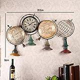 家具ウォールデコレーションアイアングローブウォールマウントの壁時計や腕時計