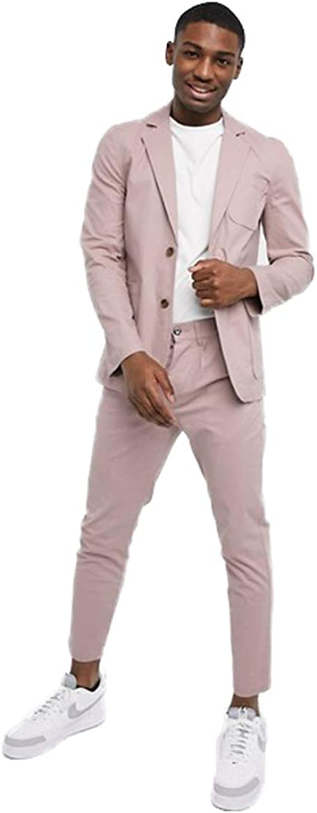 Men's Pink Suit Set Blazer Jacket and Pencil Pant with 3 Pockets for Party