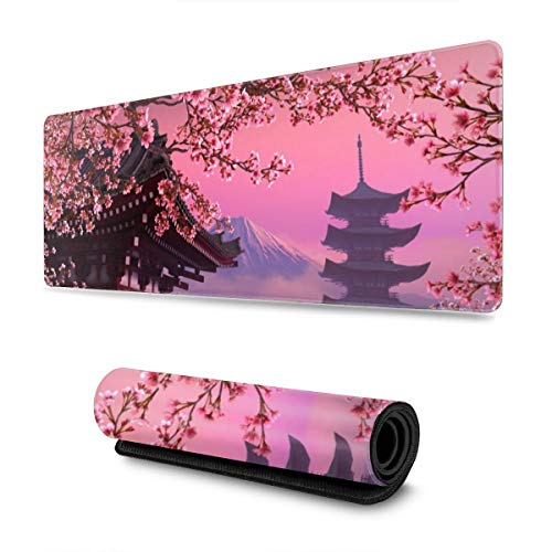Japanese Sakura Flower Gaming Mouse Pad XL, Extended Large Mouse Mat Desk Pad, Stitched Edges Mousepad, Long Non-Slip Rubber Base Mice Pad, 31.5 X 11.8 Inch
