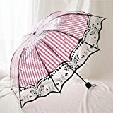 YAYY Nuevo PVC Transparente Mariposa Paraguas Lluvia Mujeres protección Ambiental Paraguas Plegable para Mujeres Paraguas a Prueba de Viento-UNA Upgrade