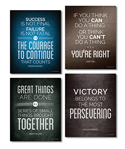 Focus and Zeal Historical Quote Motivational and Inspirational Posters, Success Wall Art Inspired by Famous Leaders and Thinkers, 8x10 Inch, Set of 4