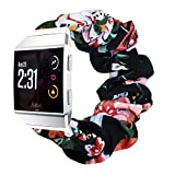 CharmingElf Scrunchie Bands Compatible with Fitbit ionic,for Women Girl,Large Small Cloth Replacement Wristbands Pattern Floral Fabric Straps,Accessories for ionic SmartWatch (6.5'-7.9', G-2)