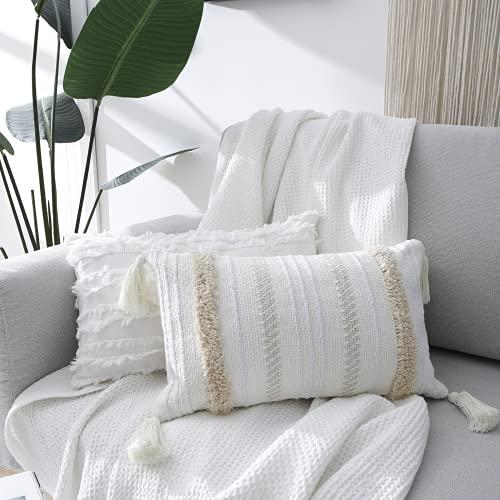Juego de 2 fundas de cojín bohemias, decorativas con borlas, algodón y lino, para sofá, dormitorio, salón, coche, suave, 30 x 50 cm, color crema y blanco