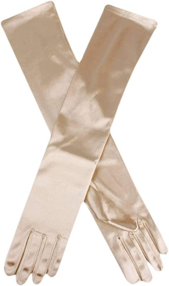 Dents Womens Long Satin Elbow Length Evening Gloves - Gold