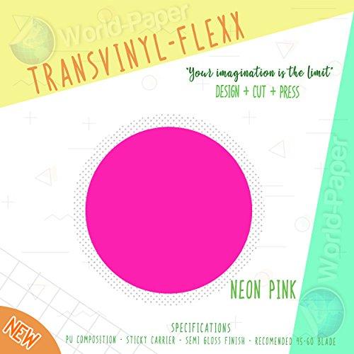 "Heat Transfer Vinyl 10"" x 1 Yard Roll T-Shirt Iron ON All Cutting Machines (Neon Pink)"