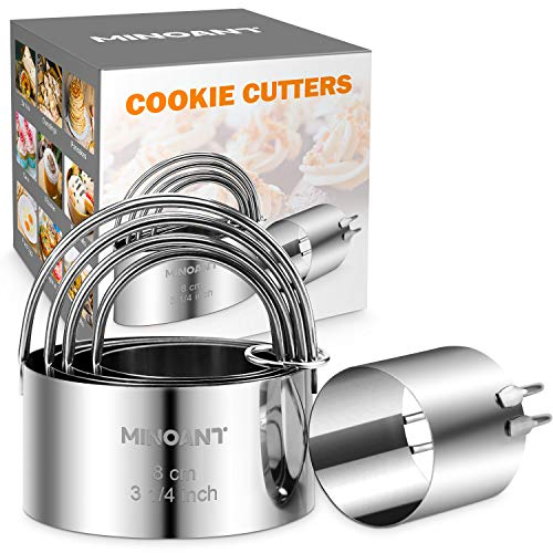 Biscuit Cutter, Minoant Cookie Cutters Set, 5 Round Biscuit Cutters Set with Handle for Baking, Professional Stainless Steel Cookie Cutters Baking Dough Tools