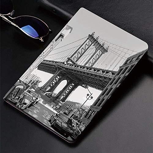 Funda para iPad (9,7 Pulgadas, Modelo 2018/2017, 6.a / 5.a generación) Funda Inteligente ultradelgada y Liviana, Paisaje, Brooklyn Nueva York, EE. UU. Landmark Bridge Street con Foto de Coches, Blac,