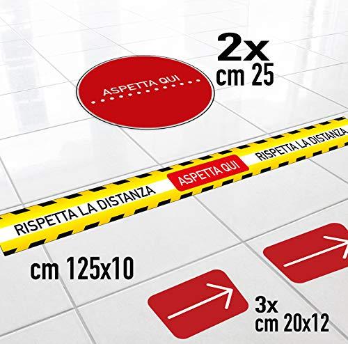 Adesivo distanza di sicurezza 3//5// pezzi emergenza sanitaria segnaletica mantieni la distanza calpestabili antiscivolo 3, Blu distanza sociale
