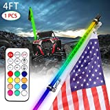 4ft LED Whip Light with Flag Pole Smoked Black RGB Whip Lights Remote Control RGB Chasing Dancing Light Offroad Warning Lighted Antenna LED Whips for ATV Utv RZR Truck Off Road Polaris 4x4 Dune