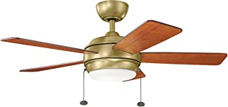 KICHLER 330171NBR Protruding Mount, 5 MEDIUM CHERRY/DARK CHERRY Blades Ceiling fan with 48 watts light, Natural Brass