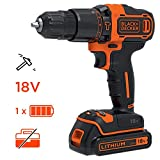 BLACK+DECKER BDCHD18-QW Perceuse à percussion sans fil - 2 vitesses - Chargeur inclus, 18V, Sans coffret, 1 batterie