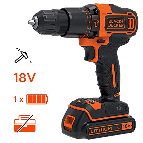 Black+Decker BDCHD18-QW - Taladro (Taladro de Pistola, Perforación, Desatornillar, 1400 Rpm, 1 cm, 2.5 cm, Negro/Naranja)