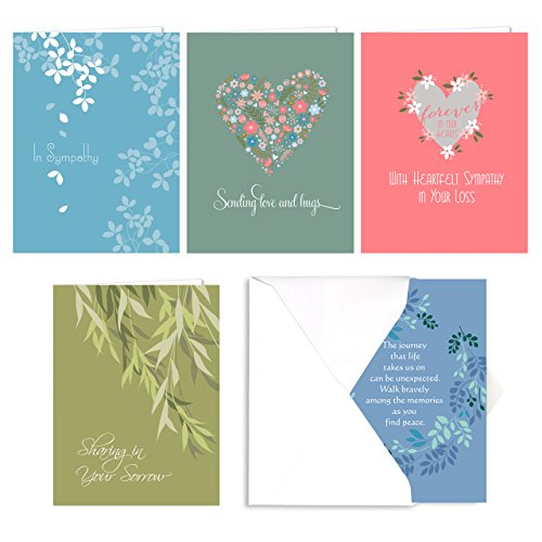 Heartfelt Sympathy Card Assortment Pack/Set Of 25 Cards / 5 Greeting Cards Of Each Design/Made In The USA