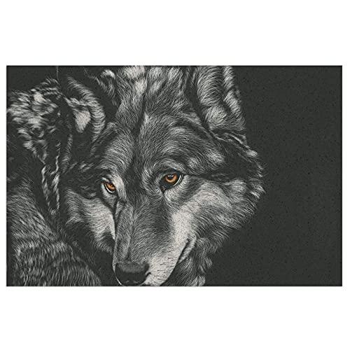 DLJIYZX Felpudo Alfombra de Piso de Pintura de Lobo Alfombra de Entrada Antideslizante de PVC Alfombra de Cocina Alfombra de baño Alfombra Alfombra 40X60CM