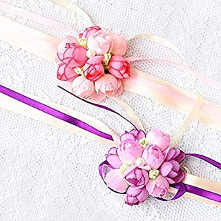 Wedding Wrist Corsage, 4PCS Girl Bridesmaid Party Prom Hand Flowers for Party Engagement Decor Birthday Party, Purple and Pink