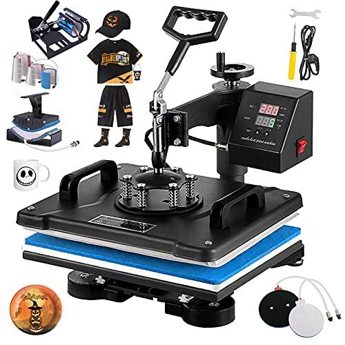 WEANAS Hand Free Easy Hitze-Presse-Maschine Portable 12 -10 Hitze-Presse-Sublimation-Maschine und Bügelmaschine mit Hitze-Presse-Mat für T Shirts