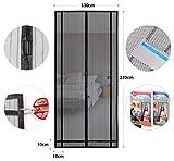 Sekey - Tendina magnetica per zanzariera, ideale per porte da balcone, cantine, terrazze (ritagliabile in altezza e larghezza), facile da montare, 220 x 130 cm, colore: Nero