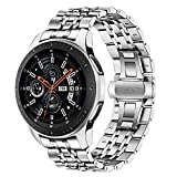 TRUMiRR Compatible con Galaxy Watch 46mm Correa de Reloj de Metal,22mm Correa de Reloj de Metal de Acero Inoxidable Banda de Repuesto para Samsung Galaxy Watch 46mm/Gear S3 Frontier Classic