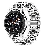 TRUMiRR Compatible avec Galaxy Watch 46mm/Gear S3 Bande de Montre, 22mm Bracelet en acier inoxydable Bracelet à boucle papillon avec extrémité incurvée compatible pour Samsung Gear S3 Frontier/Classic