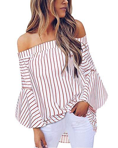 StyleDome Camisa Suelta con Mangas Acampanadas y Hombros Descubiertos, a Rayas, para Mujer - Rojo - Medium