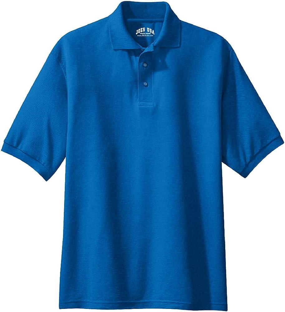 Joe's USA Men's Classic Polo Shirts - Tall 4X-Large 4XLT (54-57) - Strong Blue