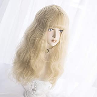 Long Wavy Wig Bangs - Natural Synthetic Hair Lolita Wig with Wig Cap For White Women Cosplay and Daily Wear (Blonde)