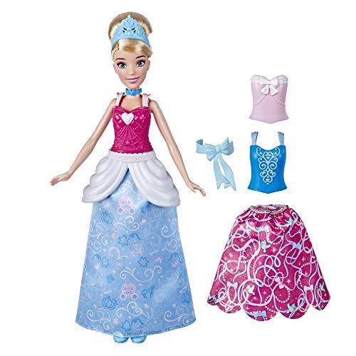 Disney Prinzessin Cinderellas Kleidermix, Modepuppe mit Outfits zum Anstecken, Kombinierbare Looks, Spielzeug für Mädchen ab 3 Jahren