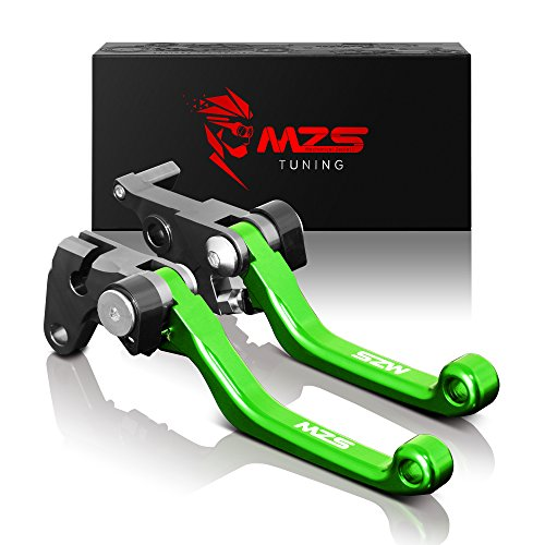 MZS Pivot Levers Clutch Brake CNC Green Compatible with Kawasaki KX250F KX450F 2013-2018 | KX250 2019-2020