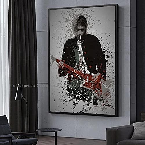 cuadros decoracion salon listones de madera|55x75cm|Frameloos Kurt Cobain Rock Rapper Poster Hombre tocando la guitarra Dormitorio Decoración de pared Mural