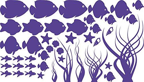 GRAZDesign Wasserfeste Fliesen Aufkleber Unterwasser Welt, Badezimmer Dekoration Aquarium, Wandtattoo Badezimmer Meer Ozean Nordsee Ostsee / 100x57cm 043 Lavendel