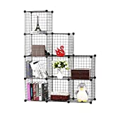 BASTUO Wire Cube Storage Cabinet, 9 Cubes DIY Wire Grid Organizer, Modular Bookcase Shelf Metal Cubes Organizer, Stackable Wardrobe Closet for Livingroom, Bedroom, Office, Black