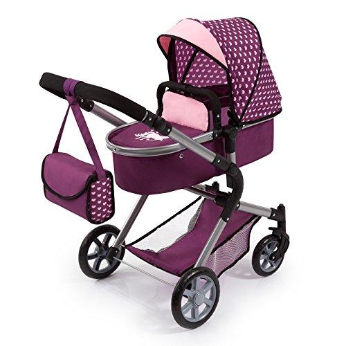 Bayer Design 18137AA City Neo Kombi Puppenwagen mit Wickeltasche, umwandelbar in einen Sportwagen, höhenverstellbar, faltbar, Pflaume, rosa, Einhorn