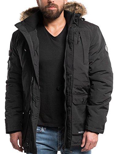 CROSSHATCH Modischer Kurz-Mantel mit Kunstfell-Kapuze und Gummizugband