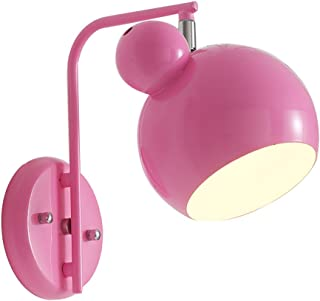 Wsxxn Pink Cartoon Mickey Head Adjustable Wrought Iron Wall Lamp Fashion Bedroom Princess Room Children's Room Girl Heart Bedside Wall Light (Color : Pink)