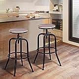 HOUSE IN BOX.COM 2 Pezzi Sgabelli da Bar Sedia Gradi Girevole Alta Regolabile Altezza Moderna Cucina Poggiapiedi Gambe Curve Moderni (Quercia)
