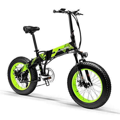 Knewss 1000W 20 Zoll Fat Wheel Folding Elektrofahrrad 48V 13Ah Batterie Vollfederung Snow Mountain E-Bike Doppelhydraulische Scheibenbremse-Grün