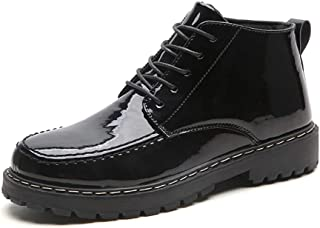 2019 New Arrival Men Boots Patent Oxford High Top Boots for Men Anti-Slip Flat Combat Work Shoes Waterproof Microfiber Leather Lace Up Round Toe High-Quality Soft Comfortable