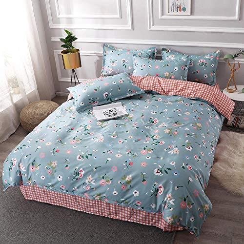 Evvaceo Juego de cama para niños, 3 piezas, funda de edredón azul, flor simple, 135 cm x 200 cm, para adolescentes, niño, dormitorio, guardería, cama de fibra superfina (individual)