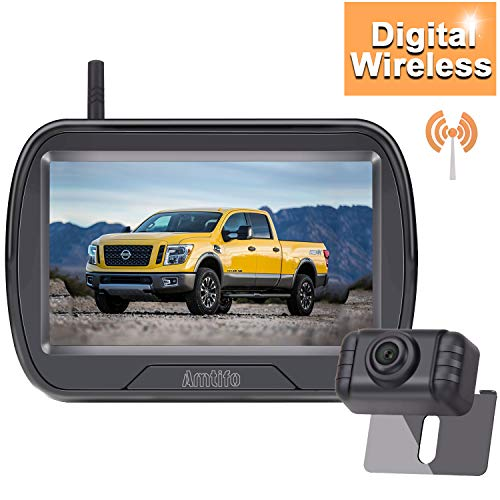 AMTIFO W3 HD 720P Digital Wireless Backup Camera Kit,Rear View Hitch Camera with 4.3'' Monitor for Cars, Pickups,Trucks,Campers,Small RVs,Adjustable Rear/Front View,IP69 Waterproof