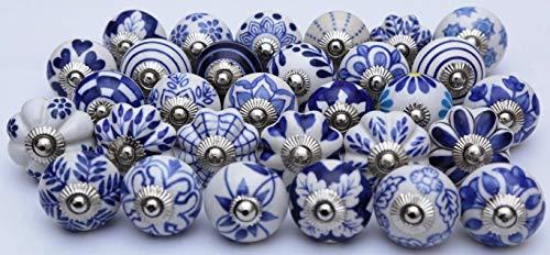 ZOYA - CERAMIC KNOBS Handmade Assorted Handles Ceramic Cabinet Pulls Online Designer (25 KNOBS, Blue)